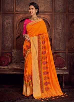 Silk Orange Embroidered Designer Saree