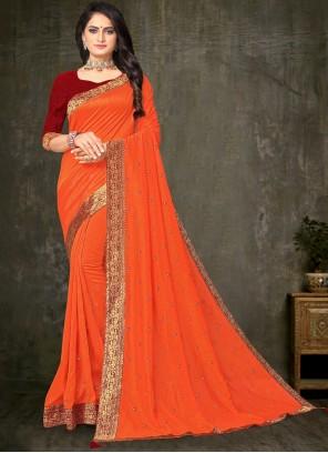 Silk Orange Embroidered Trendy Saree