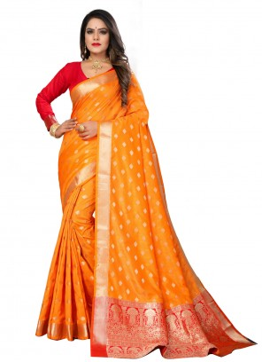 Silk Orange Fancy Designer Traditional Saree