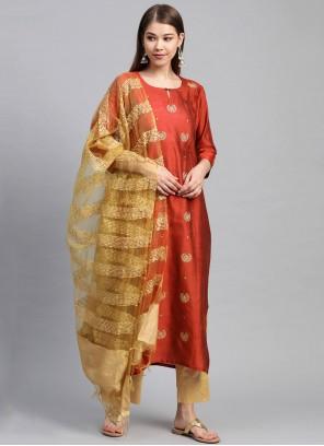 Silk Orange Fancy Readymade Suit
