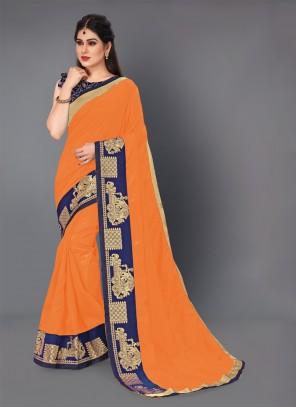 Silk Orange Lace Contemporary Style Saree