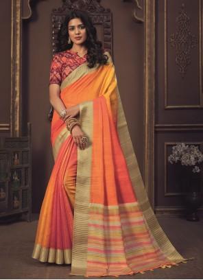 Silk Orange Shaded Saree