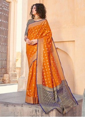 Silk Orange Weaving Silk Saree