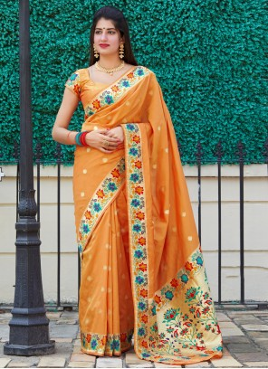 Silk Orange Weaving Traditional Designer Saree