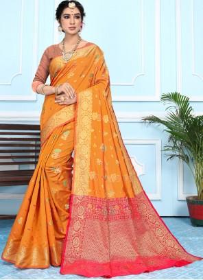 Silk Orange Woven Bollywood Saree