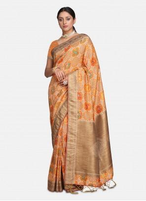 Silk Orange Woven Contemporary Saree