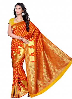 Silk Orange Zari Traditional Saree