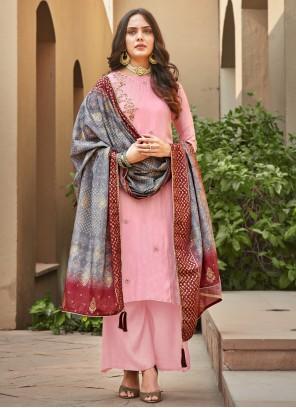 Silk Palazzo Salwar Suit in Pink