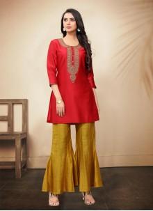 Red Moti Silk Palazzo Suit