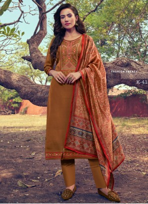 Silk Pant Style Suit in Brown