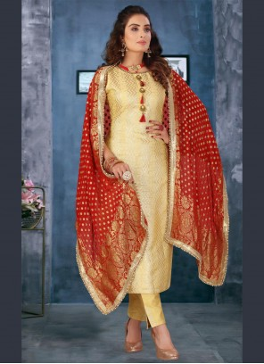 Silk Pant Style Suit in Yellow