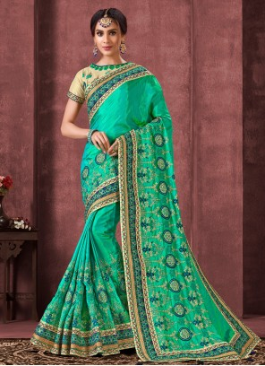 Silk Party Contemporary Turquoise Saree