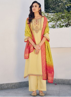 Yellow Silk Embroidered Party Designer Palazzo Suit