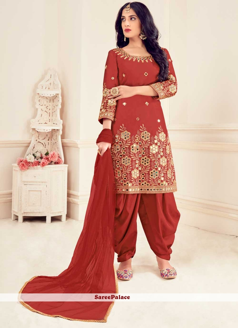 Red Embroidered Silk Party Patiala Suit