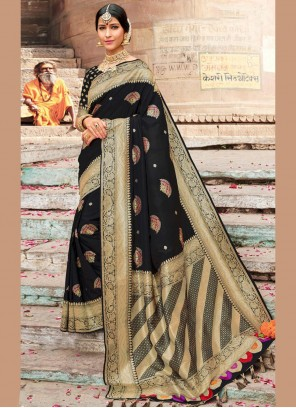 Silk Party Black Traditional Designer Saree