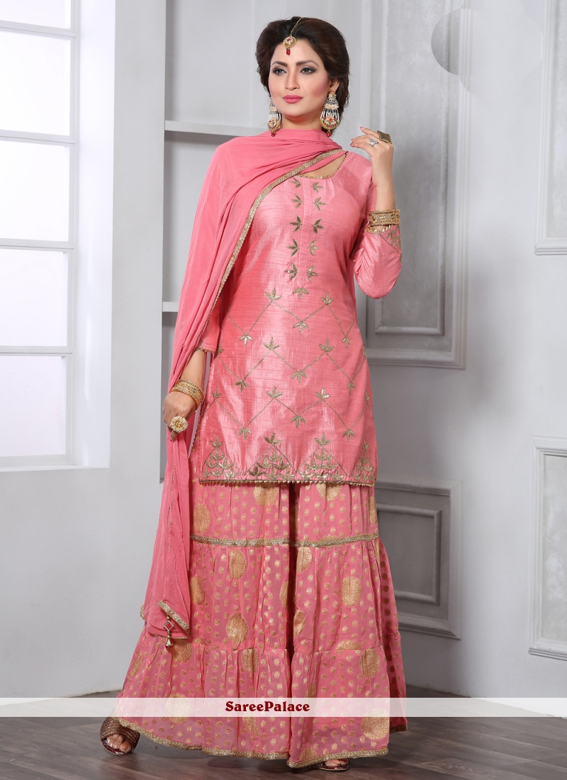 Silk Party Trendy Pink Palazzo Suit