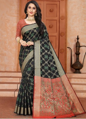 Multi Colour Silk Party Trendy Saree