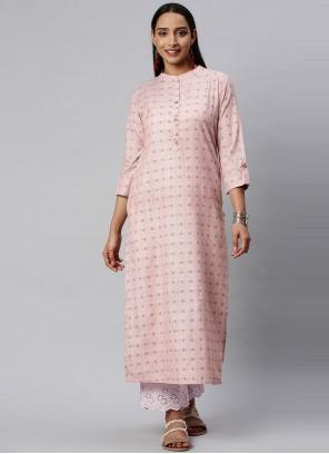 Pink Silk Party Wear Kurti
