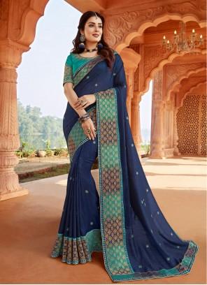 Silk Patch Border Classic Designer Saree in Blue