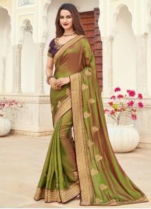 Green Silk Patch Border Designer Saree