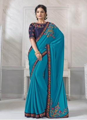 Silk Patch Border Designer Saree in Blue