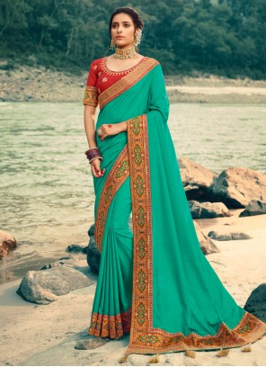 Silk Patch Border Green Classic Saree
