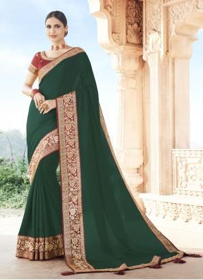 Silk Patch Border Green Traditional Designer Saree
