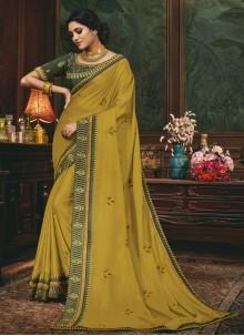 Silk Patch Border Green Traditional Saree