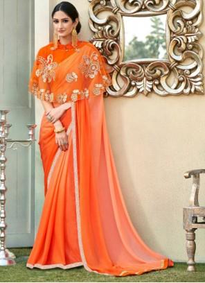 Silk Patch Border Orange Trendy Saree
