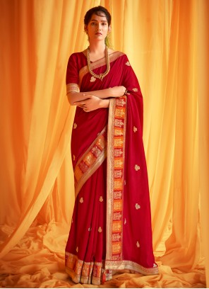 Silk Patch Border Red Traditional Designer Saree