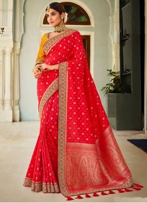 Red Silk Patch Border Traditional Designer Saree