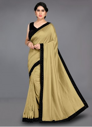 Silk Patch Border Traditional Saree in Beige