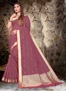 Silk Patch Border Trendy Saree in Magenta