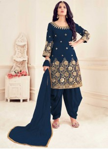 Blue Embroidered Silk Patiala Suit