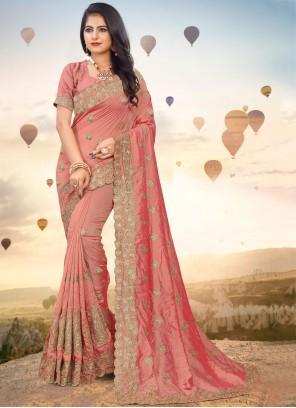 Silk Peach Embroidered Classic Saree