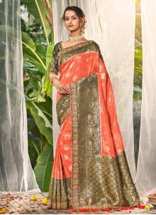 Silk Peach Embroidered Trendy Saree