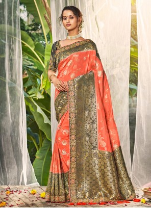 Silk Peach Embroidered Trendy Saree
