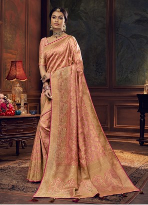 Silk Peach Swarovski Designer Traditional Saree