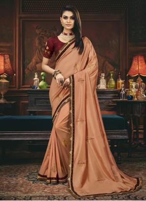 Silk Peach Traditional Saree