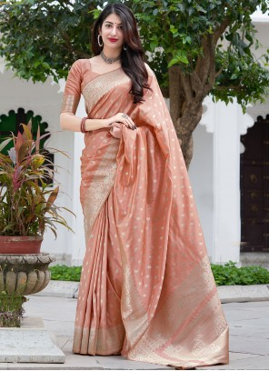 Silk Peach Weaving Designer Traditional Saree