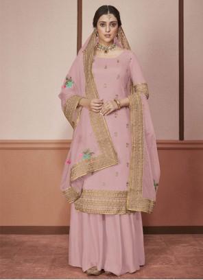 Silk Pink Border Straight Salwar Suit