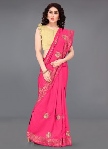 Silk Pink Casual Saree