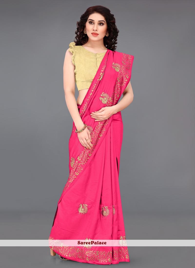 Silk Pink Casual Saree