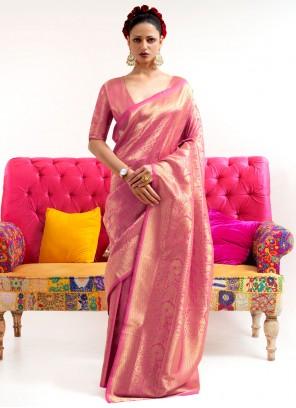 Silk Weaving Zari Work Pink Classic Saree