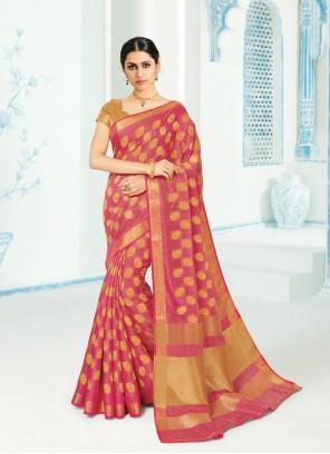 Silk Pink Contemporary Saree