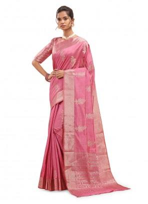 Silk Pink Designer Traditional Saree