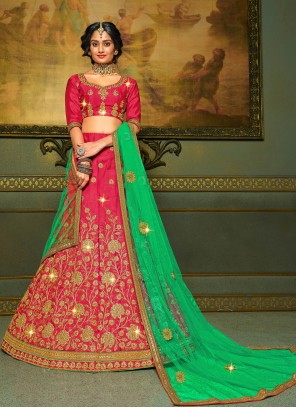Silk Pink Embroidered A Line Lehenga Choli