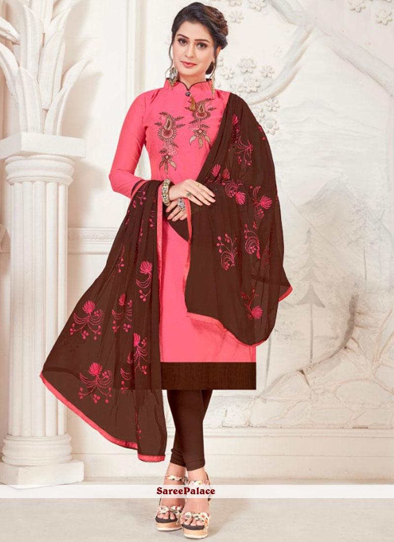 Silk Pink Embroidered Churidar Salwar Suit