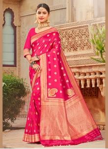 Silk Pink Embroidered Silk Saree