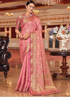 Silk Pink Jacquard Work Traditional Saree
